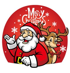 santa and rudolf the deer vector image vector image