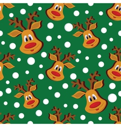 Seamless christmas pattern with deer and vector