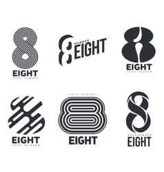 Set of black and white number eight logo templates vector image vector image