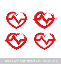 Set of hand-drawn stroke red heart icons vector image vector image