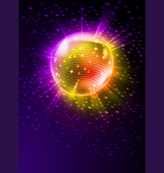 Sparkling disco ball on orange light burst vector