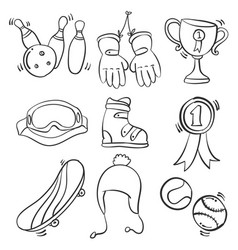 Sport equipment doodle style collection vector