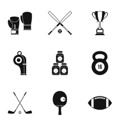 Sports stuff icons set simple style vector