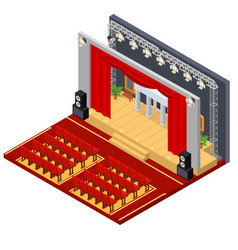 Theatre interior with furniture isometric view vector