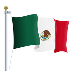 waving mexico flag isolated on a white background vector image vector image