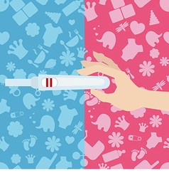 Woman holds a pregnancy test in her hand vector image vector image