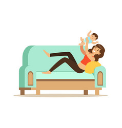 young beautiful woman sitting on a light blue sofa vector image vector image
