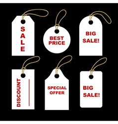 Set of white tags vector