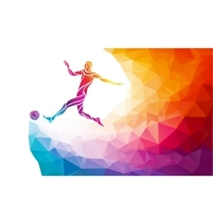 Soccer player footballer kicks the ball in trendy vector