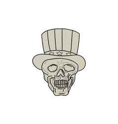 Uncle sam top hat skull drawing vector