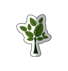 Sticker tree with leaves and trunk vector