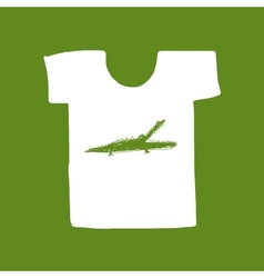 Crocodile sketch on white t-shirt for your design vector image