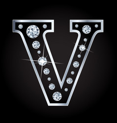 shiny diamond letter isolated on black vector image