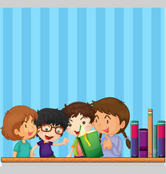 Children reading book and blue background vector