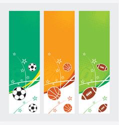 sports banners - soccer football amp basketball vector image