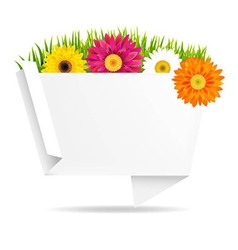 Grass border with frower and origami banner vector