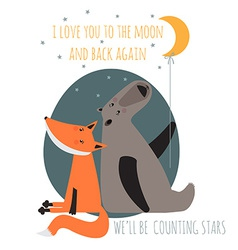 Romantic greeting card with bear and fox card vector