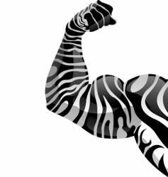 power hand with zebra tattoo vector image