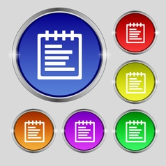Notepad icon sign round symbol on bright colourful vector