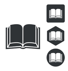 Book icon set monochrome vector