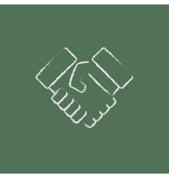 Handshake icon drawn in chalk vector