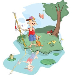 Fisherman and cat cartoon vector