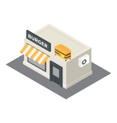 Isometric fast food burger building icon vector
