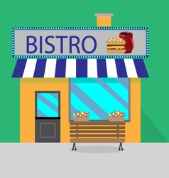 Building bistro cartoon style vector image