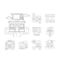Smart house detailed flat line icons vector