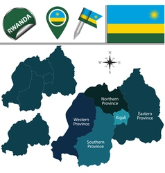 Rwanda map with named divisions vector