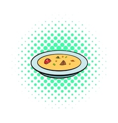 Soup plate icon comics style vector