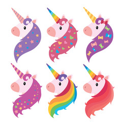 A set of portraits of unicorns in cartoon style a vector