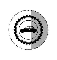 Black star emblem side car icon vector