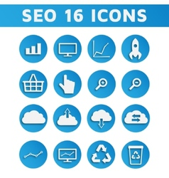 Blue SEO Business Icons Set with Computer Graph vector image vector image