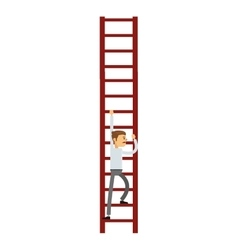 Businessman climbing the ladder icon vector