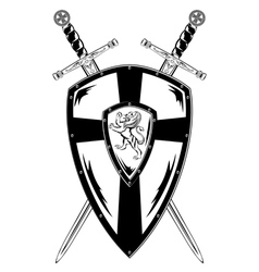 crossed swords and board vector image vector image