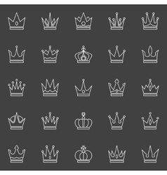 Crown line icons vector image vector image