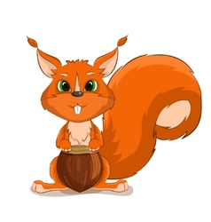 Cute character squirrel with nuts vector