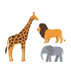 Cute giraffe elephant and lion cartoon vector