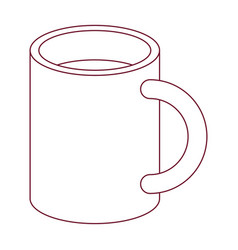 Dark red line contour of mug vector