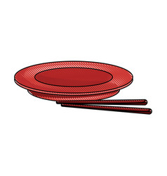 empty plate with chopsticks bamboo vector image vector image