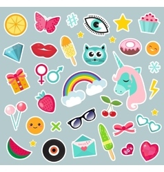Fashion set of patches 80s comic style Pins vector image