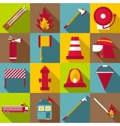 Fireman items icons set flat style vector