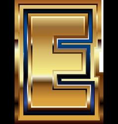 Golden font letter e vector