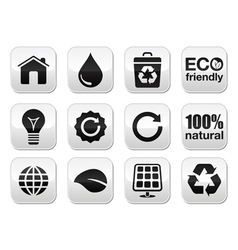 Green ecology buttons set vector image vector image