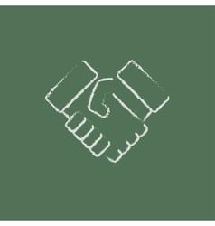 Handshake icon drawn in chalk vector image