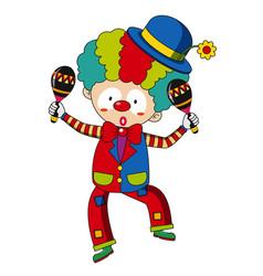 Happy clown with maracas vector
