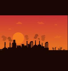 Industry wih pollution on orange background vector
