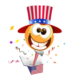 July fourth independence day smile uncle sam vector