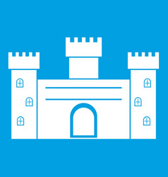 medieval fortification icon white vector image